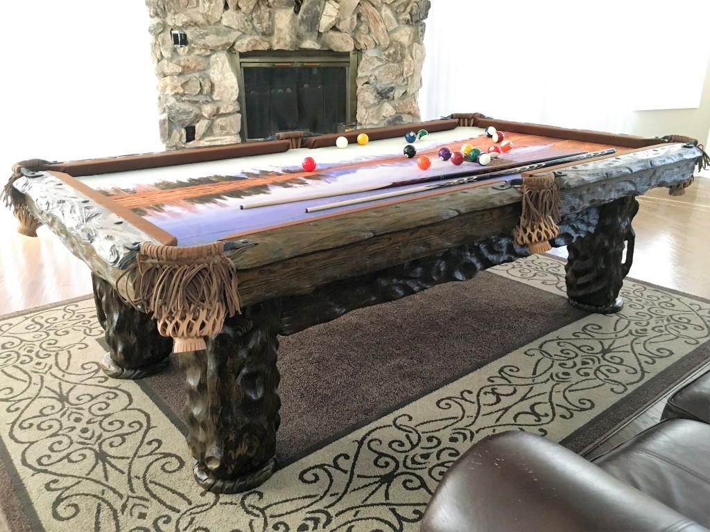 Wilderness-rustic-log-pool-table-by-Vision-Billiards